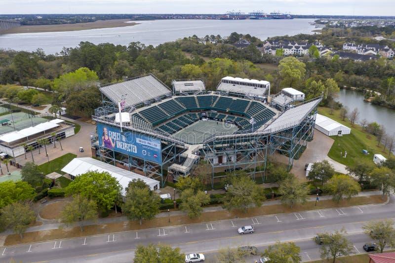 WTA: Opiniones aéreas del 16 de marzo del estadio principal abierto del coche de Volvo imagenes de archivo