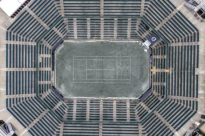 WTA: Opiniones aéreas del 16 de marzo del estadio principal abierto del coche de Volvo fotos de archivo libres de regalías