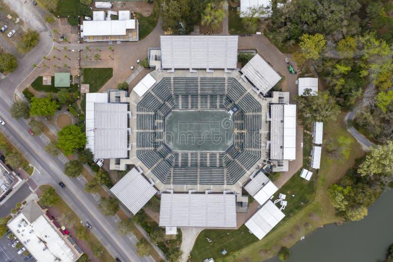 WTA: Opiniones aéreas del 16 de marzo del estadio principal abierto del coche de Volvo fotografía de archivo libre de regalías