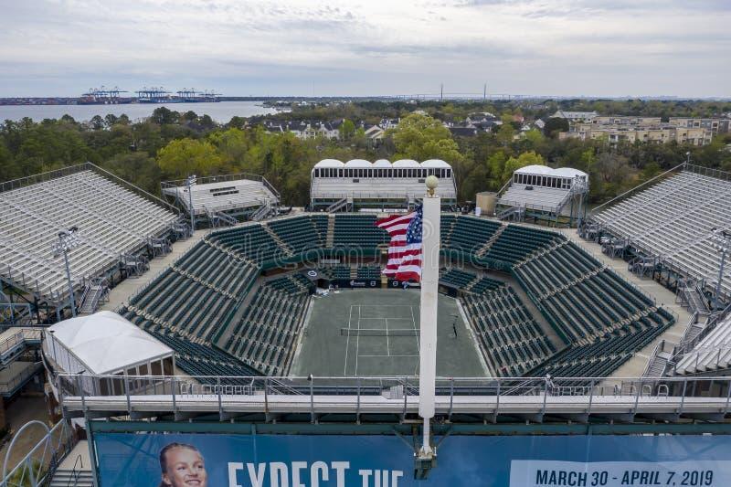WTA: Opiniones aéreas del 16 de marzo del estadio principal abierto del coche de Volvo imagen de archivo