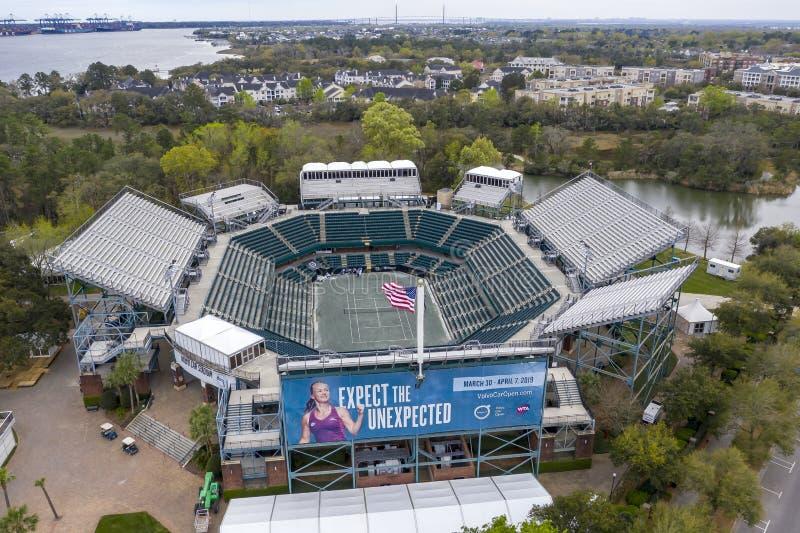 WTA: Opiniones aéreas del 16 de marzo del estadio principal abierto del coche de Volvo fotografía de archivo