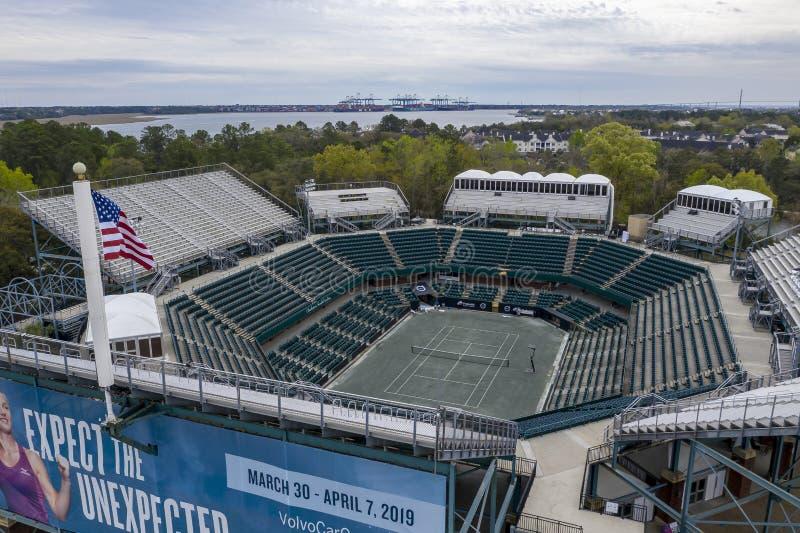 WTA: Opiniones aéreas del 16 de marzo del estadio principal abierto del coche de Volvo foto de archivo