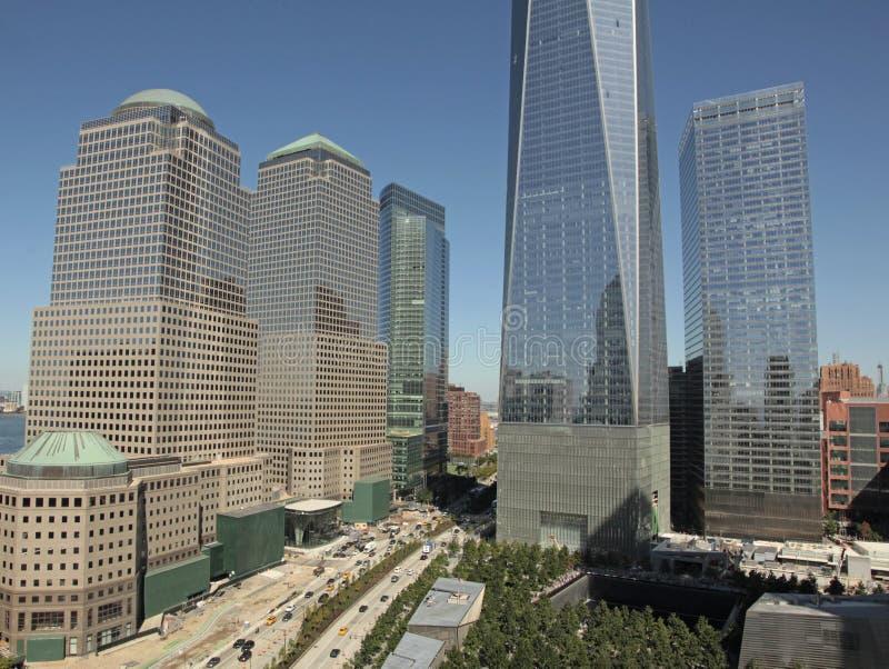 WTC、自由塔和财政区, NYC 免版税库存照片