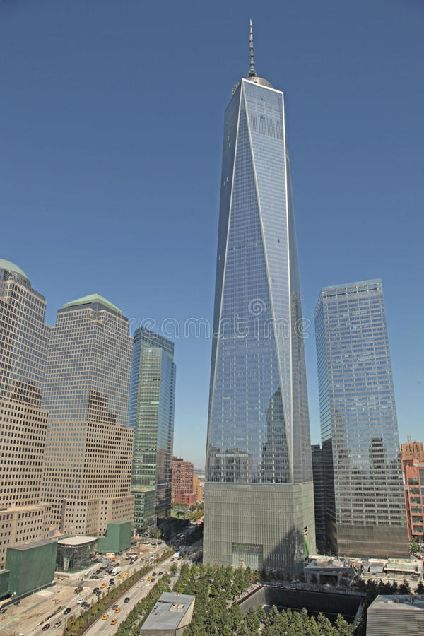 WTC, Freedom Tower en Financieel District, NYC stock afbeeldingen
