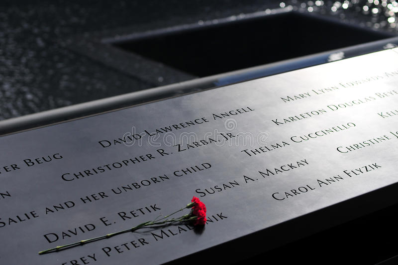 WTC pomnik, inskrypcje zdjęcia royalty free