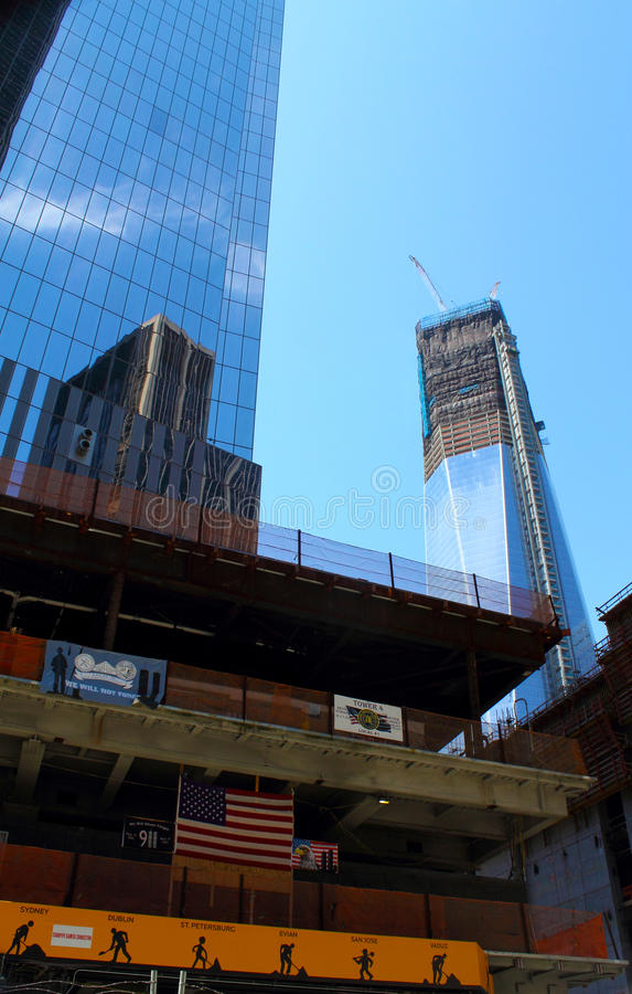 WTC tower 4 construction site. The construction site of tower 4 of the World Trade Center in Manhattan, New York City with the Freedom tower in the background stock image