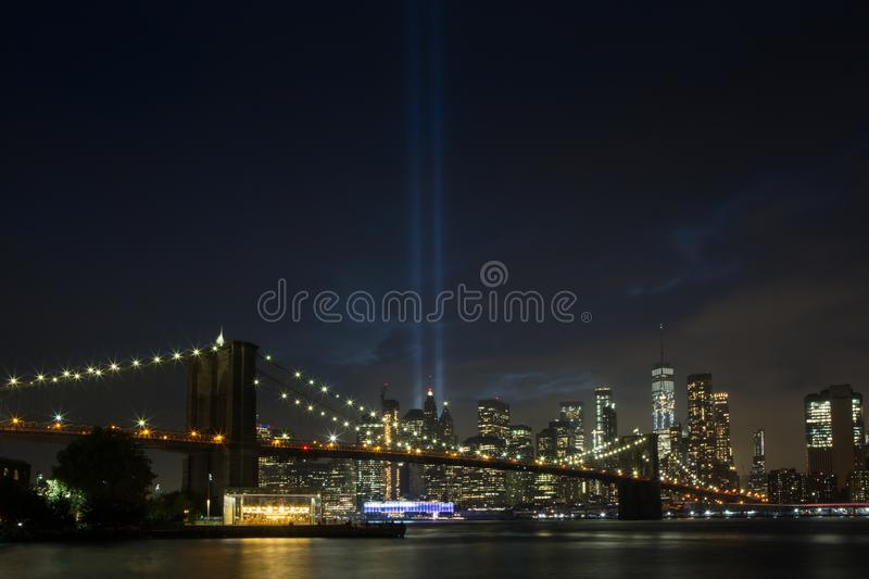 WTC tribute in lights royalty free stock photography