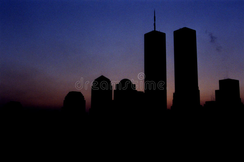WTC-Twin Tower in New York am frühen Sonnenaufgangmorgen lizenzfreies stockfoto