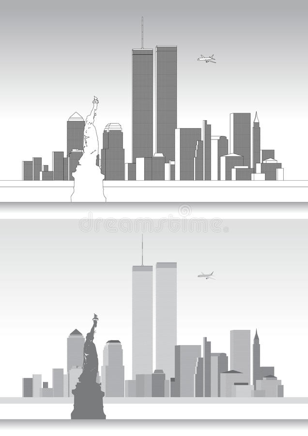 WTC, World Trade Center and the New York Skyline royalty free illustration