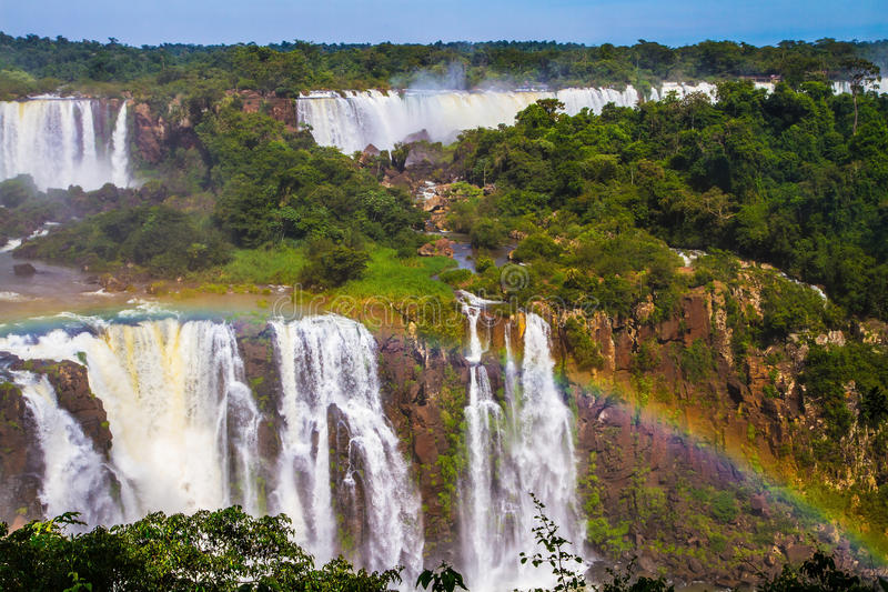 Wterfalls on the border of Argentina royalty free stock photography
