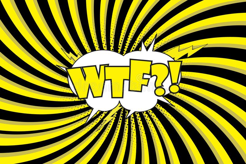 WTF, Comic Text Sound Effect Icon Stock Vector