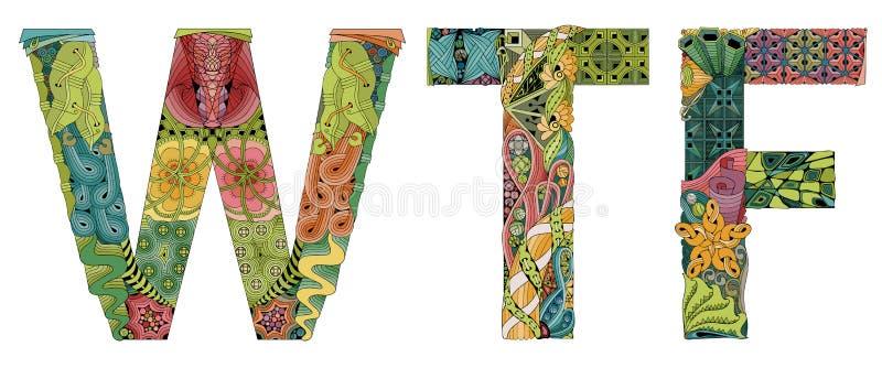 Wtf de la abreviatura Objeto decorativo del zentangle del vector stock de ilustración