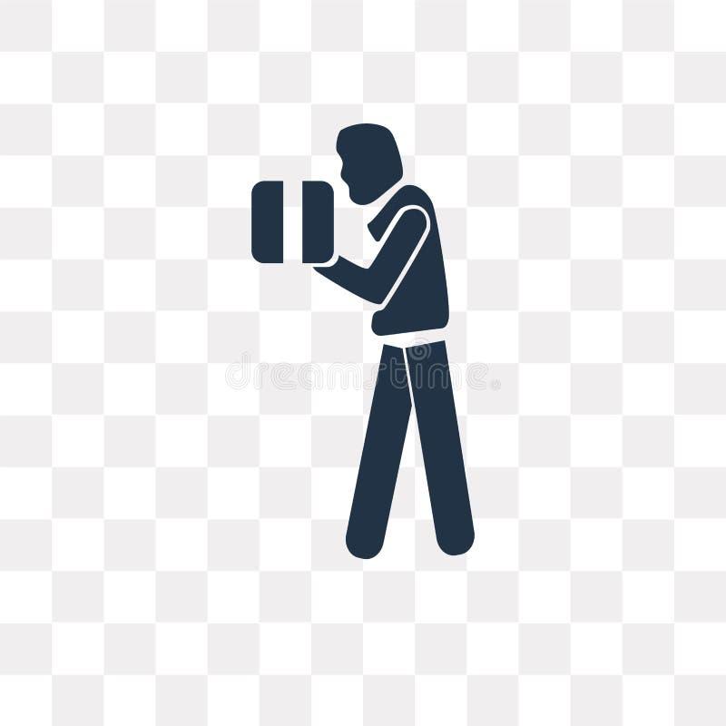 Wtyka mężczyzna z Pudełkowatą wektorową ikoną odizolowywającą na przejrzystym backgroun ilustracji