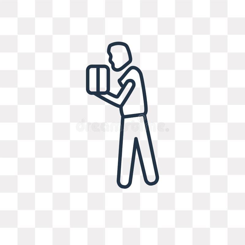 Wtyka mężczyzna z Pudełkowatą wektorową ikoną odizolowywającą na przejrzystym backgroun royalty ilustracja