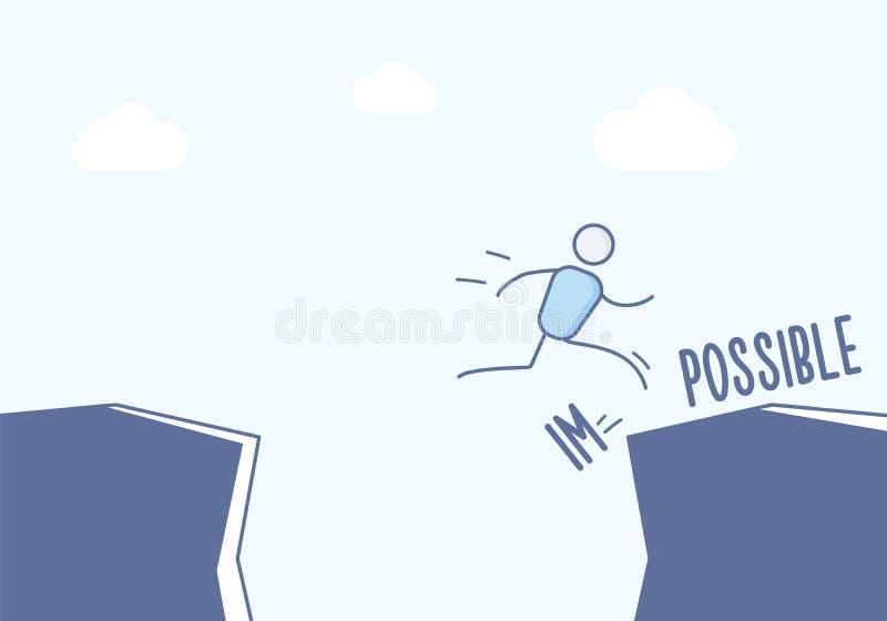 Wtyka postać biznesmena skacze nad falezą i łama niemożliwego w ewentualnego Wektorowy ilustracyjny pojęcie w eps10 formacie ilustracji