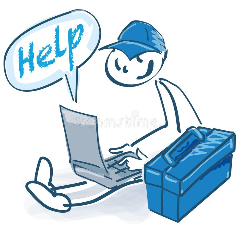 Wtyka postać jako rzemieślnik z toolbox, laptopem i pomocą, royalty ilustracja