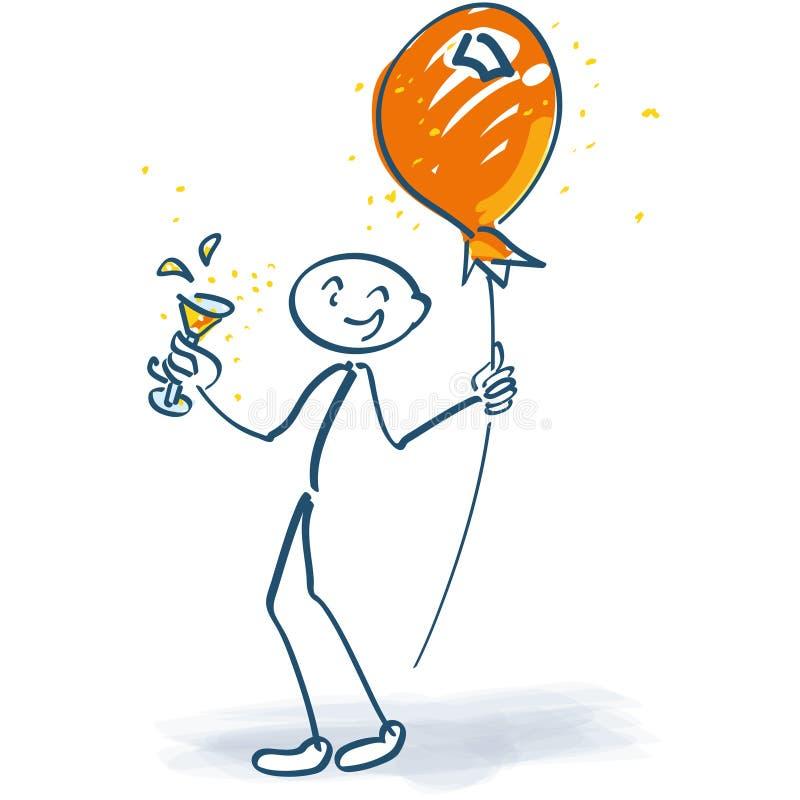 Wtyka postać z szampańskim szkłem i balonem na kiju royalty ilustracja