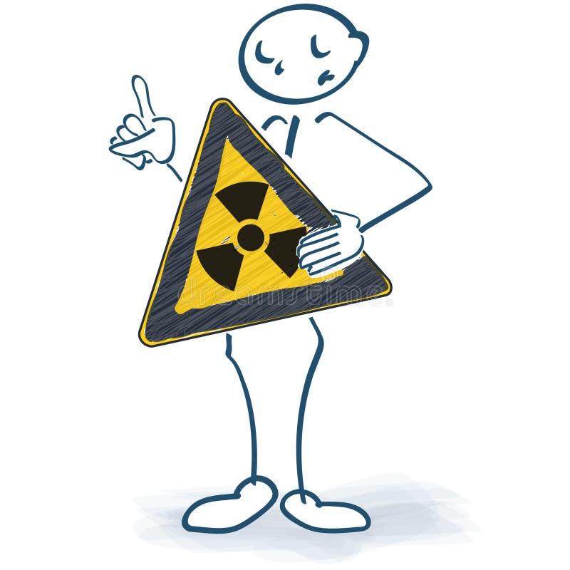 Wtyka postać z znakiem który ostrzega atomowy napromienianie royalty ilustracja