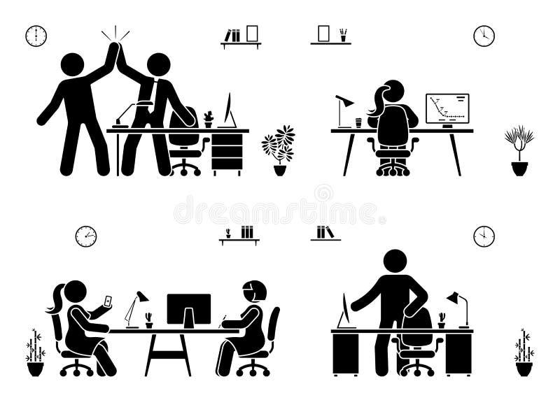 Wtyka postaci biznesowego biura ikony wektorowego piktogram na bielu Mężczyźni i kobiety szczęśliwi, działanie, obsiadanie, repor royalty ilustracja