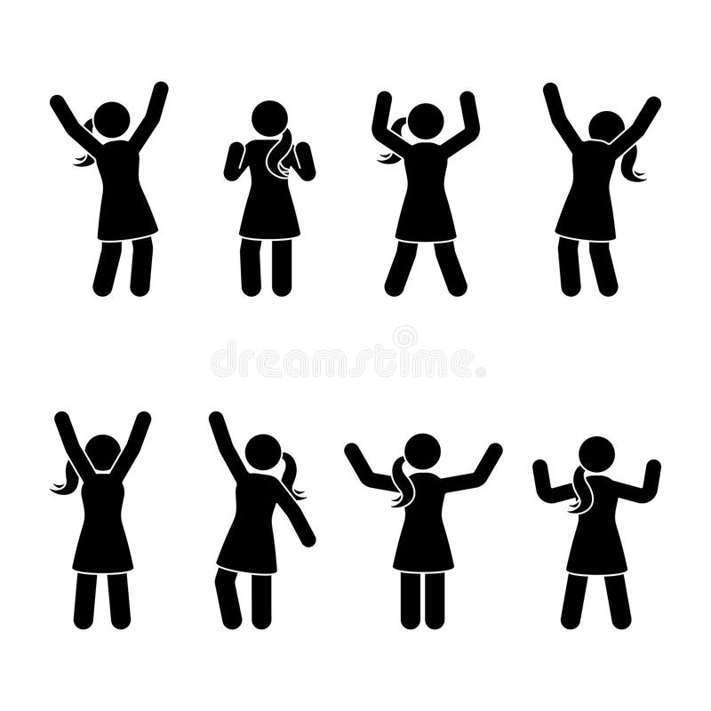 Wtyka postaci szczęście, wolność, doskakiwanie, ruchu set Wektorowa ilustracja świętowanie pozuje piktogram ilustracja wektor