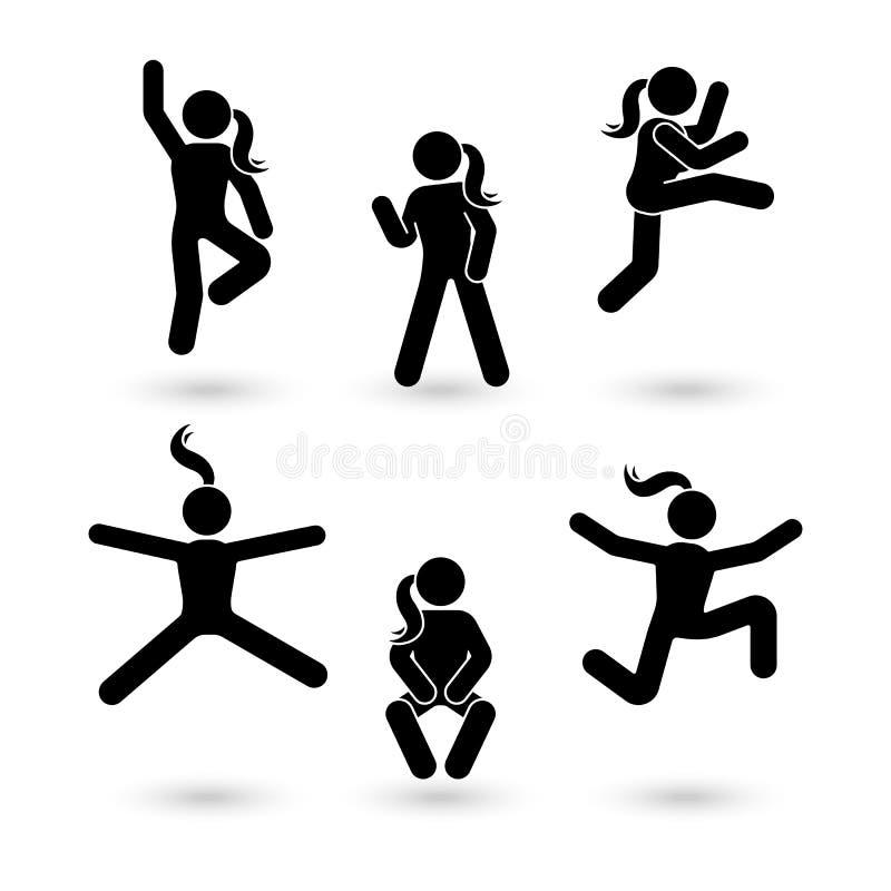 Wtyka postaci szczęście, wolność, skokowy dziewczyna ruchu set Wektorowa ilustracja świętowanie kobieta pozuje piktogram ilustracji