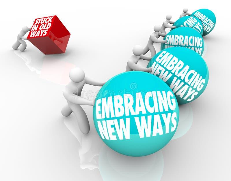 Wtykający w Starych sposobach Vs obejmowanie zmiana Adaptuje Nowego wyzwanie ilustracja wektor