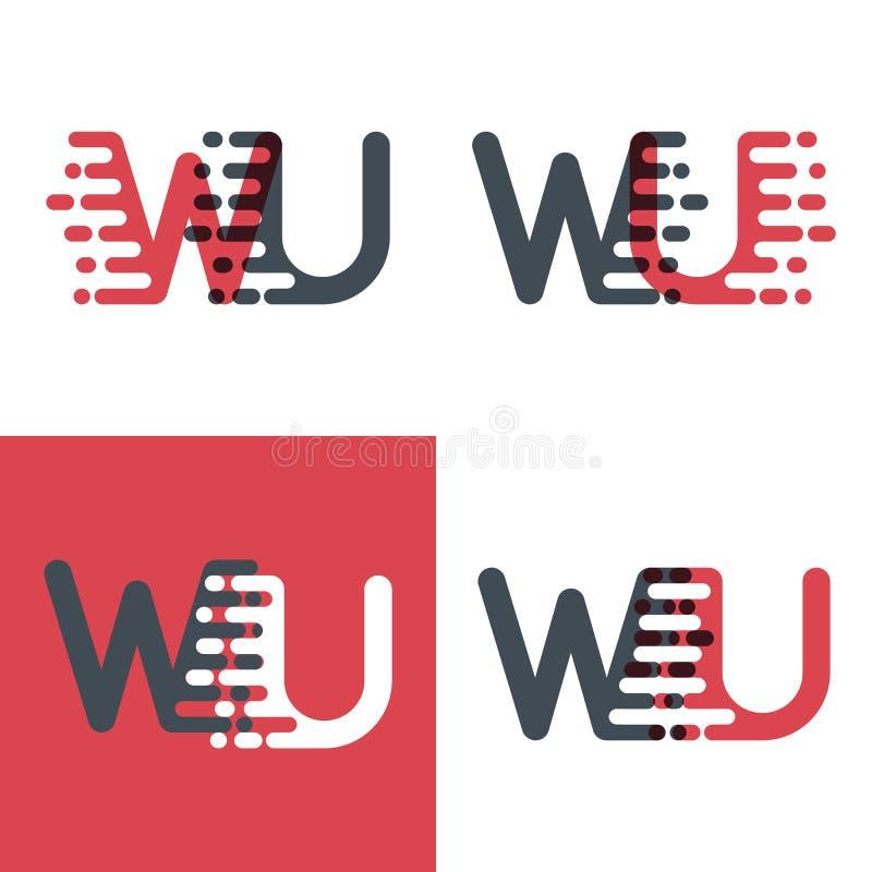 WU marque avec des lettres le logo avec le rose de vitesse d'accent et gris-foncé illustration stock