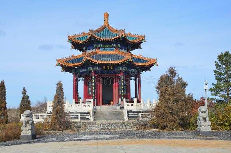 Wudalianchi, China, Yishen Pavilion in Global Geopark stock images