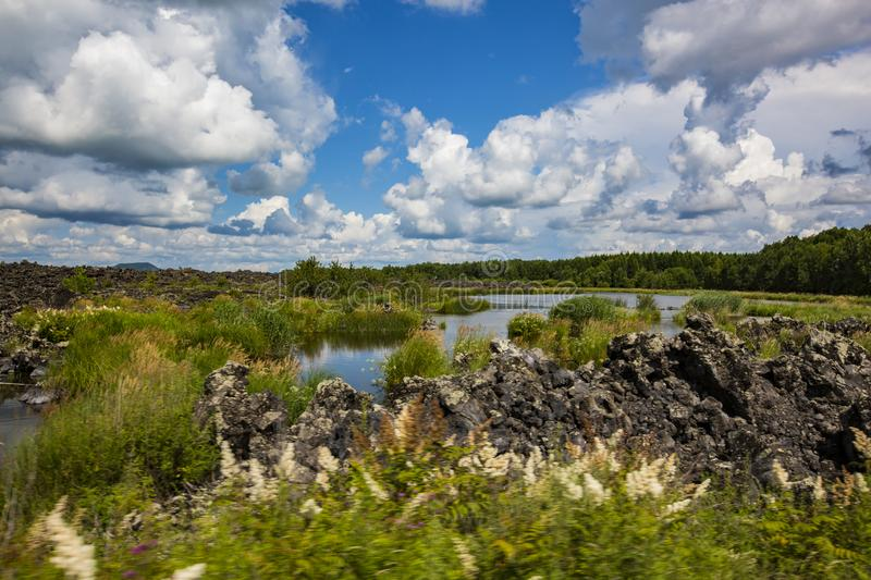 Wudalianchi geological volcanic lake in the park. Wudalianchi geological divided by five volcanic lake in the park as the main body of surface water, there is royalty free stock photo