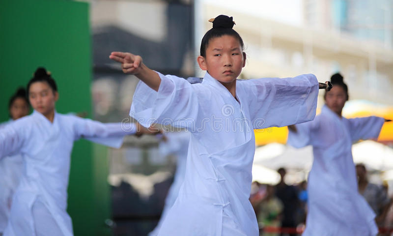 Wudang Martial Arts Show. SHANGHAI - AUGUST 7: Practitioners perform on stage during Wudang Martial Arts Show at the Expo 2010 Shanghai China on August 7, 2010 royalty free stock photos