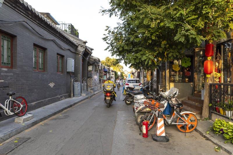 Wudaoying Hutong在北京,中国,是其中一商业hutongs在北京 库存图片