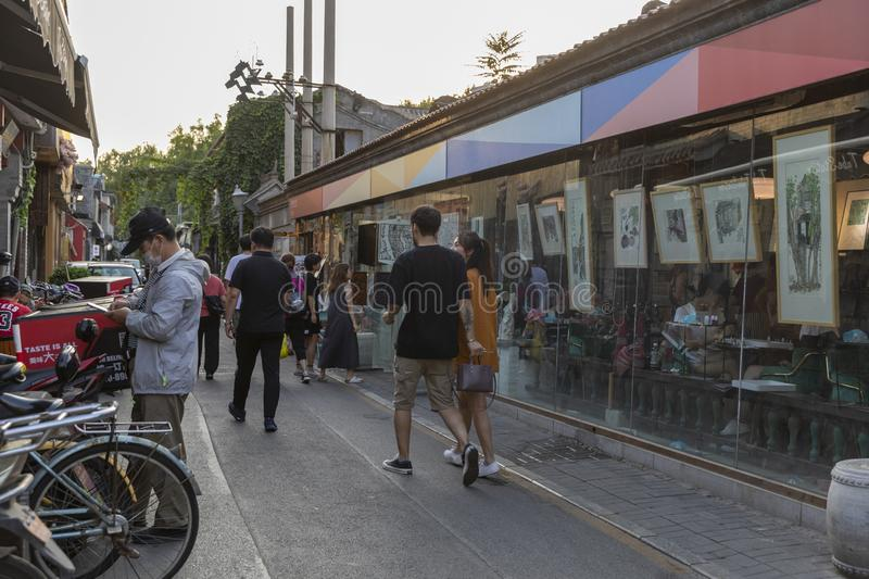 The Wudaoying Hutong in Beijing, China, is one of the commercial hutongs in Beijing. stock photos
