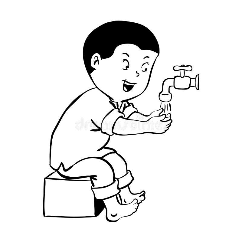 wudhu传染媒介例证的男孩warshing的手 皇族释放例证