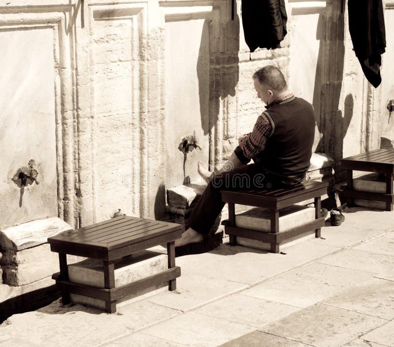 Wudu outside Süleymaniye Mosque stock images