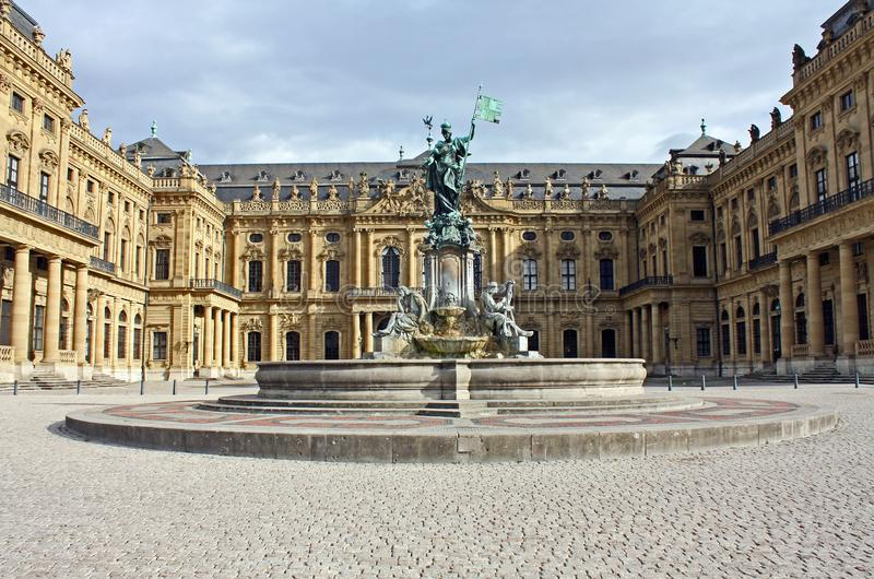 Wuerzburg - Residence with fountain royalty free stock image