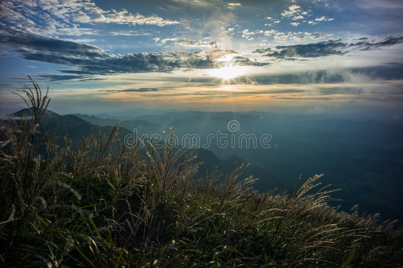 Wugong Mountains National Park In Sunset Royalty Free Stock Photography
