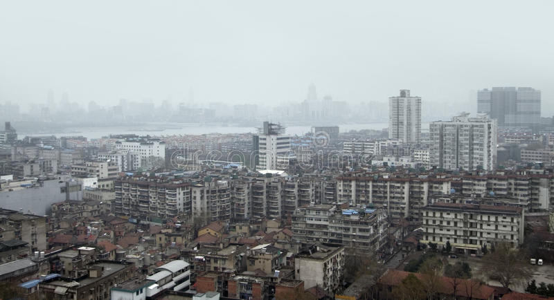 Wuhan aerial view royalty free stock photos
