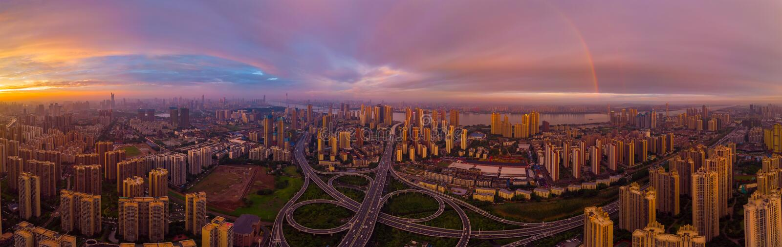 Wuhan city sunset and night aerial photography scenery in summer royalty free stock images