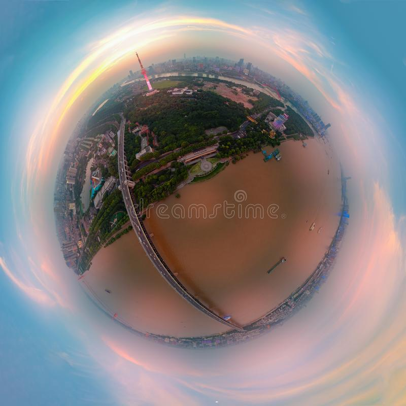 Wuhan city sunset and night aerial photography scenery in summer royalty free stock photography