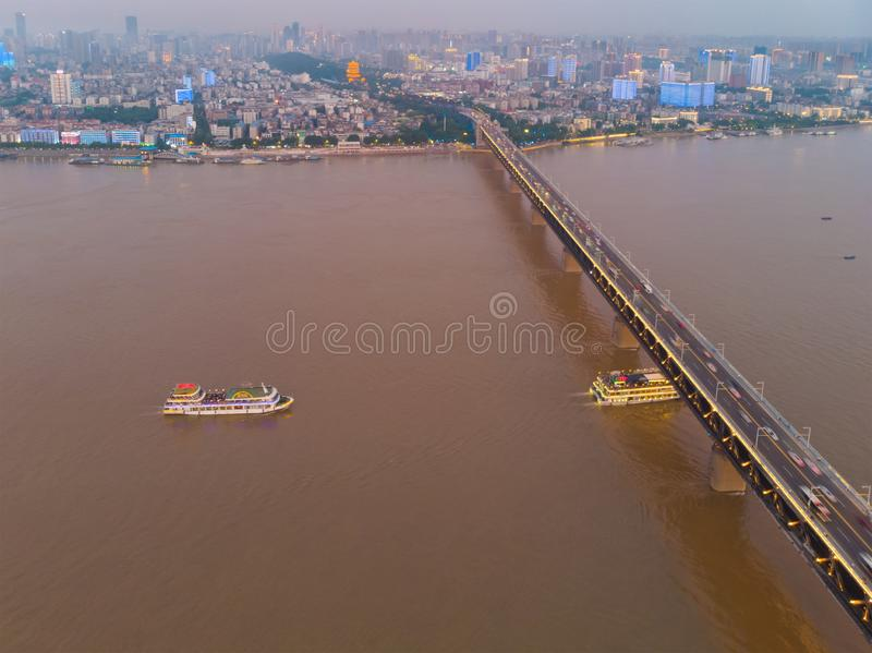 Wuhan city sunset and night aerial photography scenery in summer stock images