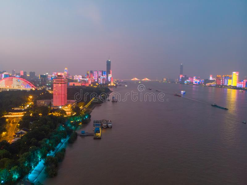 Wuhan city sunset and night aerial photography scenery in summer stock photos