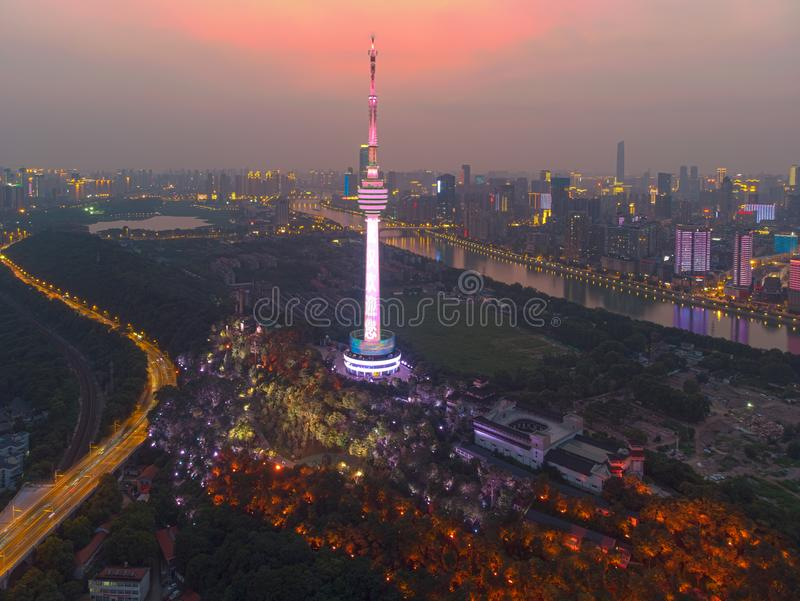 Wuhan city sunset and night aerial photography scenery in summer stock photo