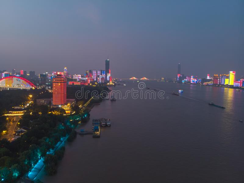 Wuhan city sunset and night aerial photography scenery in summer royalty free stock photos