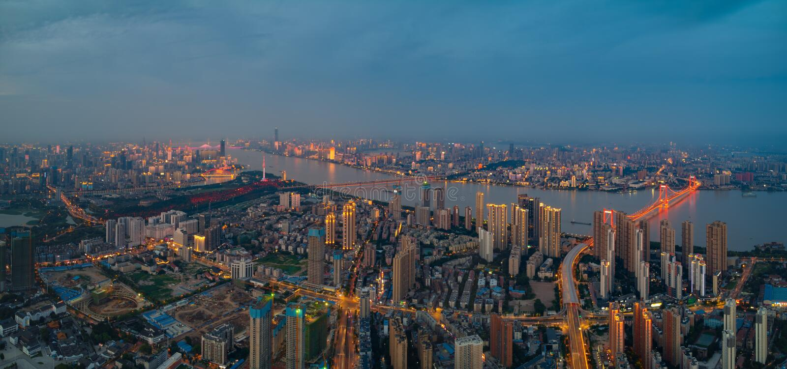 Wuhan city sunset and night aerial photography scenery in summer royalty free stock photo