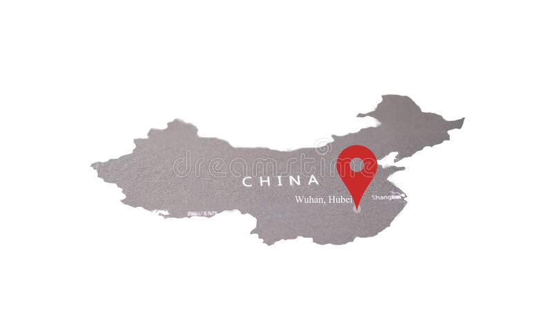 Wuhan china map. 武汉 市 长. On gray screen push pin with read color royalty free stock photo