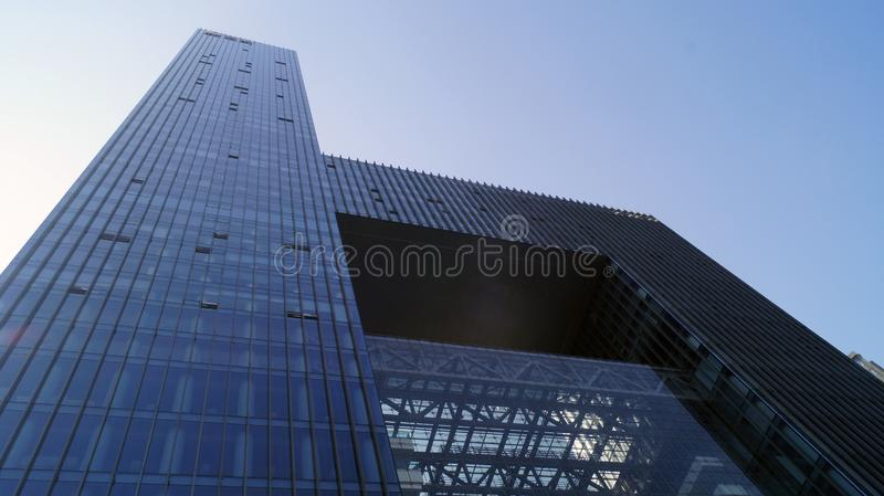 Wuhan China tall building. Tall high building in the centre of Wuhan in China,Hubei province, tall modern building made by steel and cover it by glass stock images