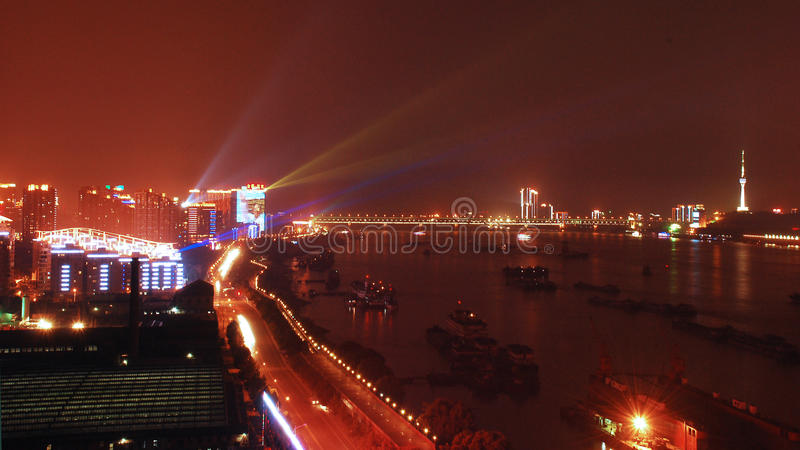 Wuhan at night stock images