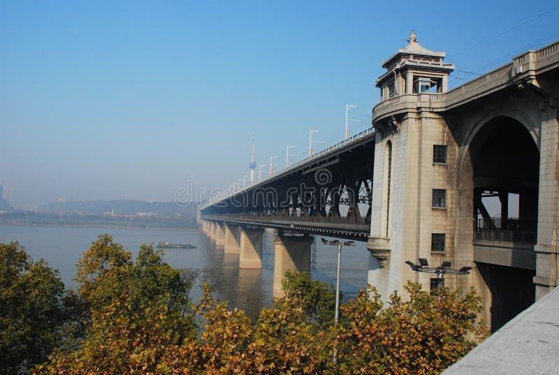 Wuhan Yangtze river bridge royalty free stock photography