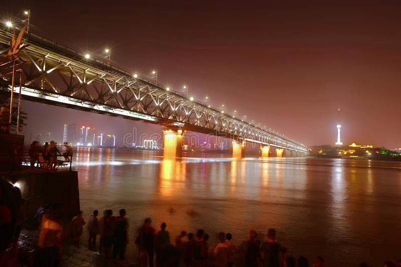 Wuhan Yangtze River bridge night stock photo
