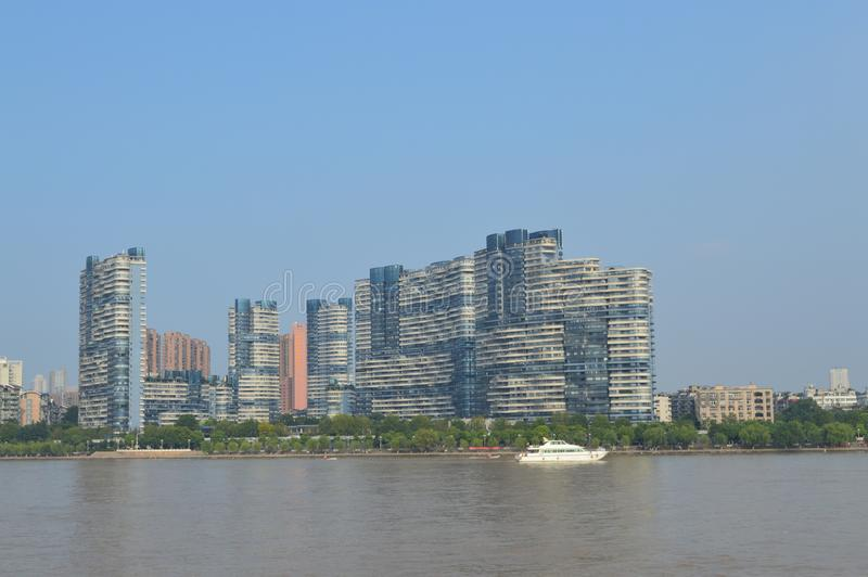 Wuhan Yangtze River. Modern buildings on both sides of the Yangtze River in Wuhan are very distinctive royalty free stock photography